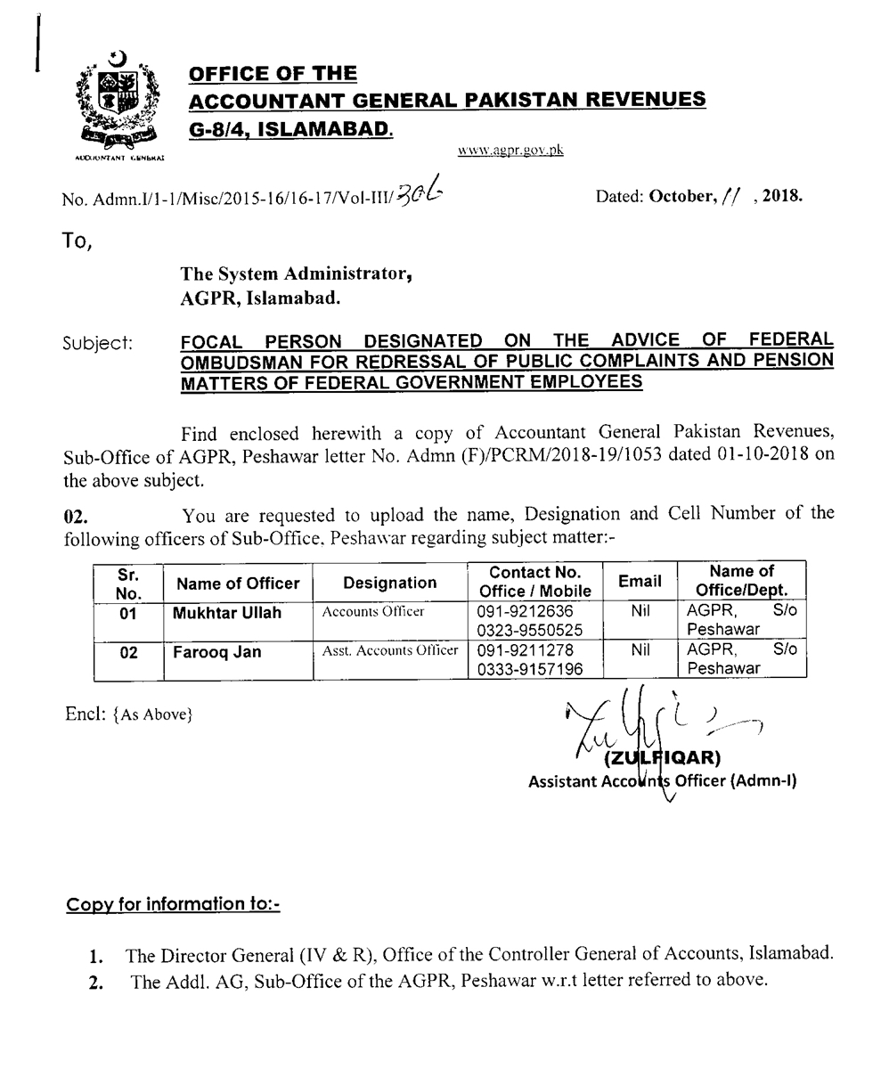 AGPR :: Accountant General Pakistan Revenues (Government of Pakistan